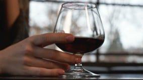 在毯子盖的孤独的妇女喝昂贵的白兰地酒,有钱人生活 股票视频