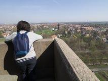 在民族大会战纪念碑的屋顶上,莱比锡 免版税库存照片