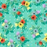 在民间样式的无缝的花卉美好的纹理 免版税库存图片