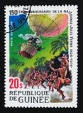 在气球的五个星期,儒勒・凡尔纳serie诞生的150th周年,大约1979年 免版税库存照片