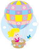 在气球的儿童飞行 库存照片