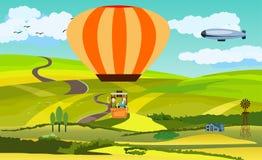 在气球的男孩和女孩旅行,在乡下风景,传染媒介例证的看法 免版税图库摄影