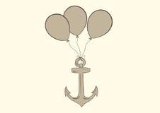 在气球的船锚 图库摄影
