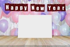 在气球背景的抽象新年好2018年与空的纸海报 库存照片