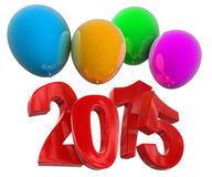 2015年在气球(包括的裁减路线) 免版税库存图片