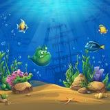 在水下的世界的动画片鱼 免版税图库摄影