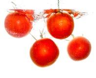 在水下的四个蕃茄在白色背景 免版税库存照片