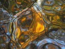 在水坑,明亮的黄色,蓝色和绿色油漆的抽象反射,挥动水的表面上 库存照片