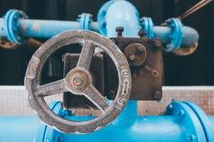 在水处理厂的阀门 库存照片
