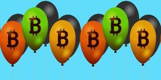 在水平的横幅的Bitcoin标志 库存图片