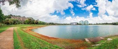 在水库附近的宿舍在宋卡王子大学,合艾,泰国 库存照片