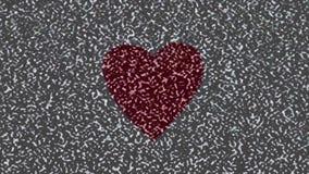在水彩和心脏绘的没有信号、电视静态噪声 影视素材