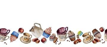 在水彩和糖果绘的杯、杯形蛋糕 免版税库存照片