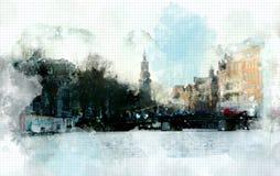 在水彩样式的城市生活 库存图片