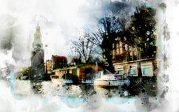 在水彩样式的城市生活 图库摄影
