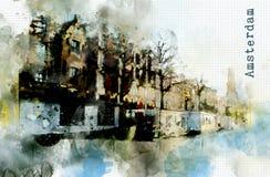 在水彩样式的城市生活 免版税库存照片