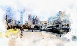 在水彩样式的城市生活 免版税库存图片