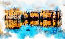 在水彩样式的镇生活 免版税库存照片