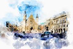 在水彩样式的镇生活 免版税库存图片