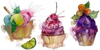 在水彩样式的鲜美杯形蛋糕 r E 向量例证
