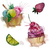 在水彩样式的鲜美杯形蛋糕 r E 皇族释放例证