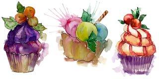 在水彩样式的鲜美杯形蛋糕 r E 库存例证