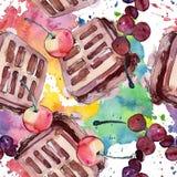 在水彩样式的鲜美蛋糕 r E 库存例证
