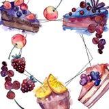 在水彩样式食物的鲜美蛋糕 水彩backgriund例证集合 E 向量例证
