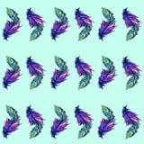 在水彩的羽毛无缝的样式 也corel凹道例证向量 向量例证