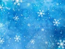 在水彩背景的圣诞节雪花 库存照片