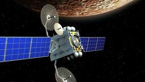 在水星轨道, 3d的虚构的人造卫星动画 行星的纹理在图形编辑被创造了 库存例证
