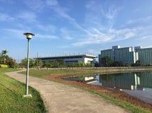 在水池旁边的走道在公园 库存照片