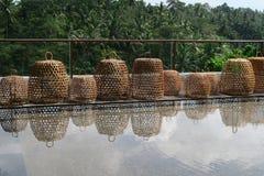 在水池附近的装饰篮子 免版税库存图片