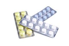 在水泡的五颜六色的药片 免版税库存照片