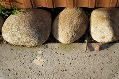 在水泥地板的三块大石头是信心和宁静标志,风景设计 免版税库存照片