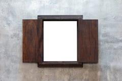 在水泥墙壁上的窗架 库存图片