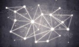 在水泥背景和小点当网络想法画的线 免版税库存照片