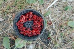 在水烟筒shisha碗的红色烟草 水烟筒` s头 免版税图库摄影