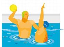 在水球比赛的罢工者投掷球 免版税库存图片