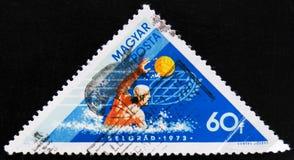 在水球,贝尔格莱德的匈牙利胜利,大约1973年 图库摄影