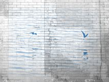 在水的海鸟在砖样式 免版税图库摄影