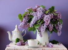 在水罐、杯和茶壶的开花的紫色丁香 在ru的静物画 库存图片