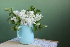 在水罐的开花的白色丁香 复制空间 免版税库存图片