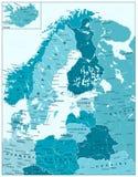 在水色蓝色颜色的北欧政治地图 免版税库存照片