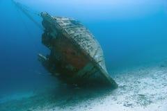 在水面下木加勒比的海难 库存图片