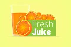 在汁液的橙色果子切片在黄色背景,传染媒介例证 免版税库存图片