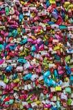 在汉城N塔的爱锁 免版税库存照片