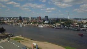 在汉堡港口的风景全景 影视素材