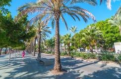 在江边的伊维萨岛阳光在Sant安东尼de Portmany,走在主要木板走道的人们 库存照片