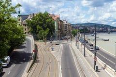 在江边的车道零件Buda的在布达佩斯 库存照片